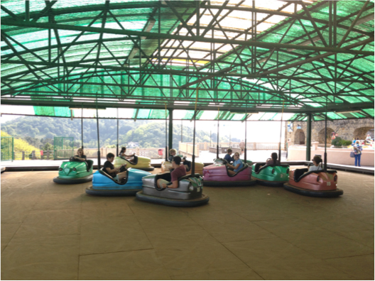 Bumper cars at amusement park at the top of Monte Igueldo in Spain
