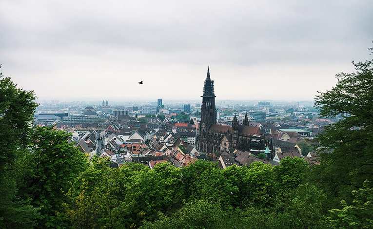 View of Freiburg, Germany from the top of the Schlossberg