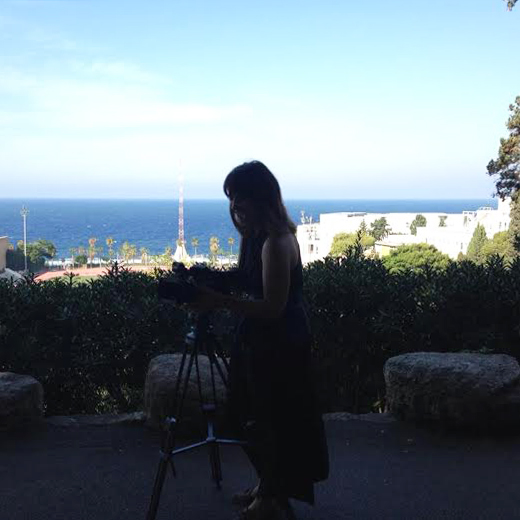 Student working on a video project at the American University of Beirut