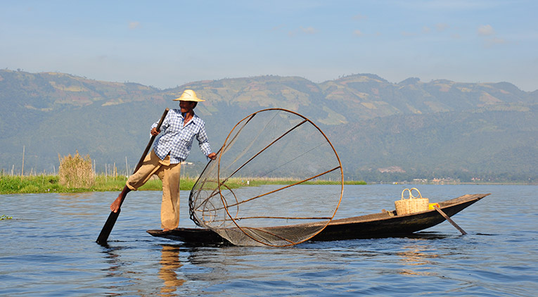 Fishing on Inle Lake in Shan State, Myanmar