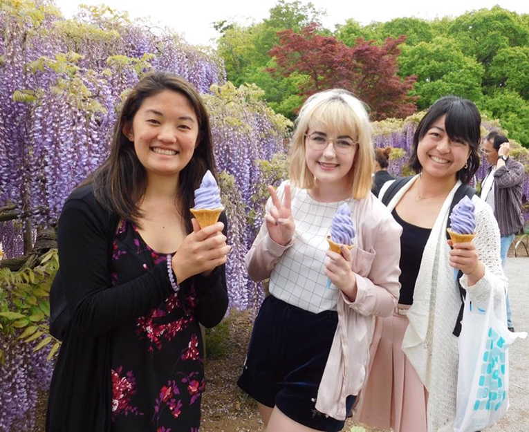 Girls eating ice cream at Ashikaga Flower Park in Japan