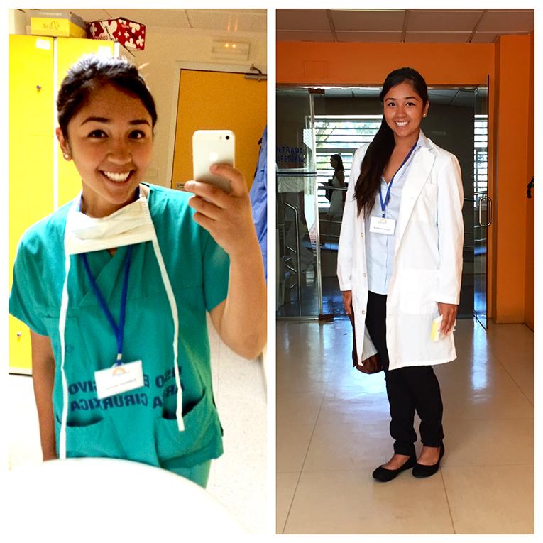 Spanish medical intern in her uniforms