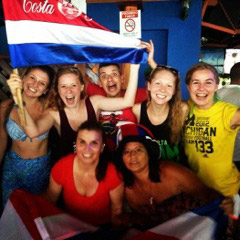 Study abroad students celebrating Costa Ricas World Cup win