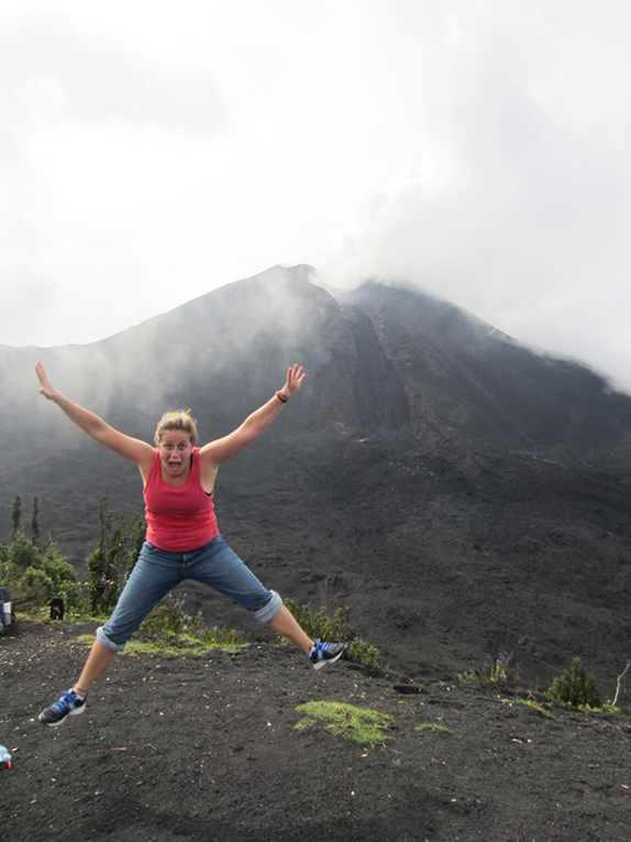 Jumping shot at the Pacaya Volcano in Guatemala