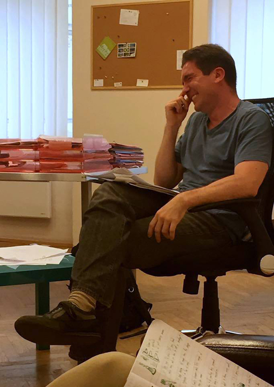 Chris Foxwell, The Language House TEFL trainer, laughing during a lesson