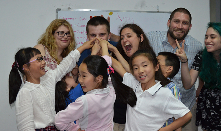 International teachers with their students in China