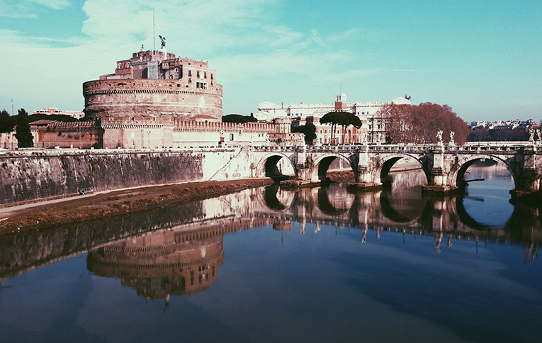 View of Castel St. Angelo in Rome, Italy