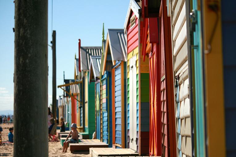 Beach shacks on Brighton Beach in Melbourne, Australia