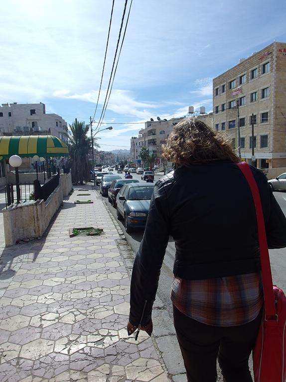 Walking down a street in Jordan
