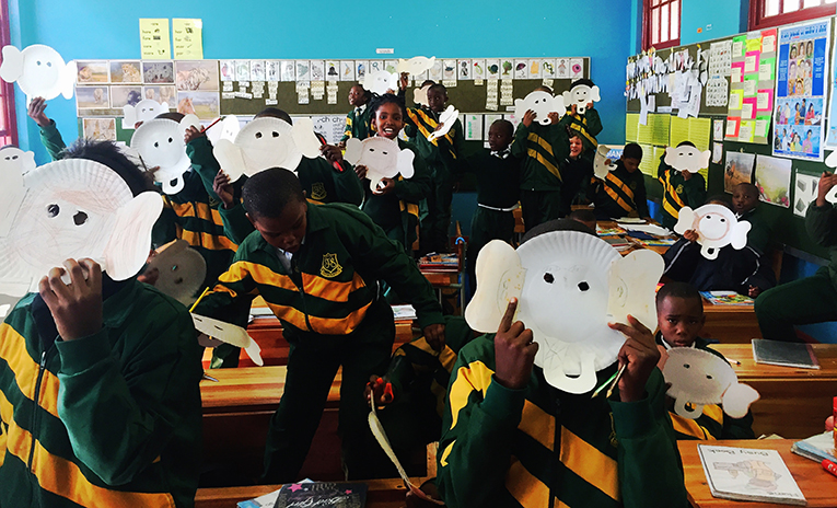 South African students on Elephant Appreciation Day