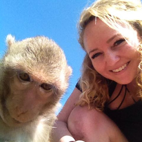 Tourist with Lopburi monkey in Thailand