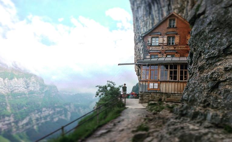 Restaurant built into the mountainside in Switzerland