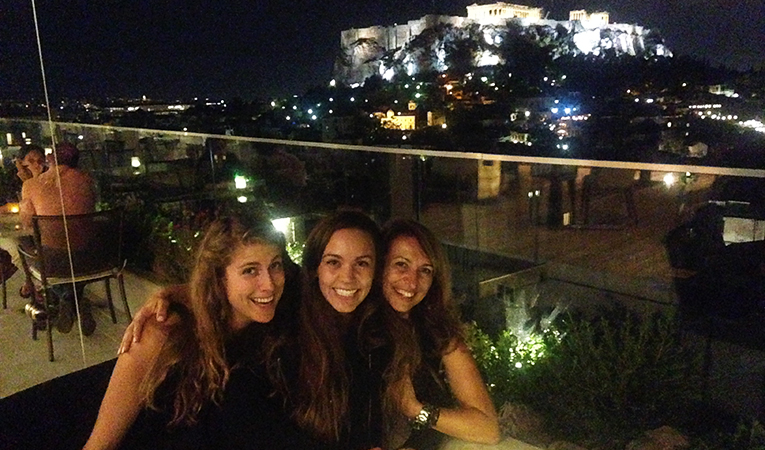 Friends out for drinks in downtown Athens, Greece