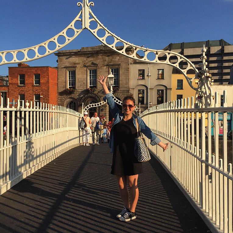 The Hapenny Bridge on the River Liffey in Dublin, Ireland