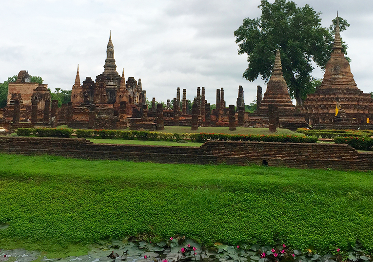 Ancient ruins of Sukhothai in Thailand