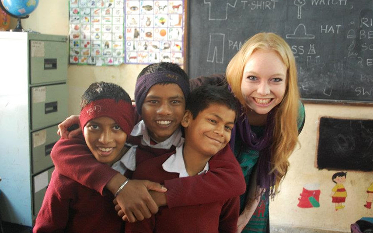 Indian students with foreign English teacher