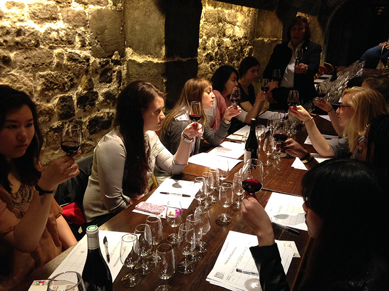 Students in a wine tasting class