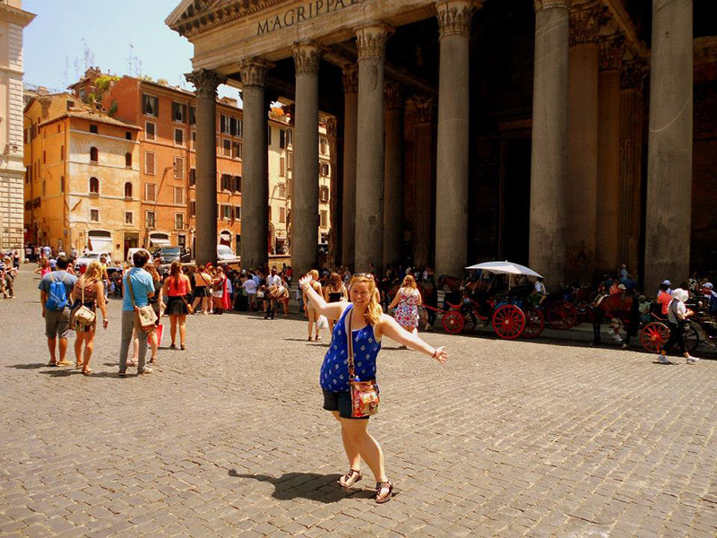 Tourist at the Pantheon in Rome, Italy