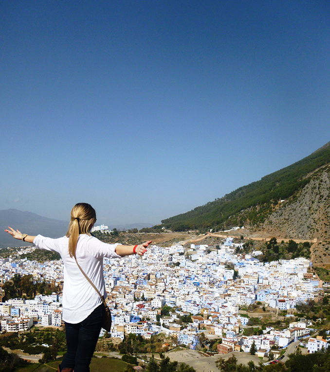 View of Chefchaouen, Morocco from the mountaintop