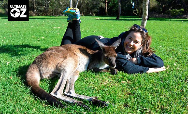 UtlimateOz staff member with a kangaroo in Australia