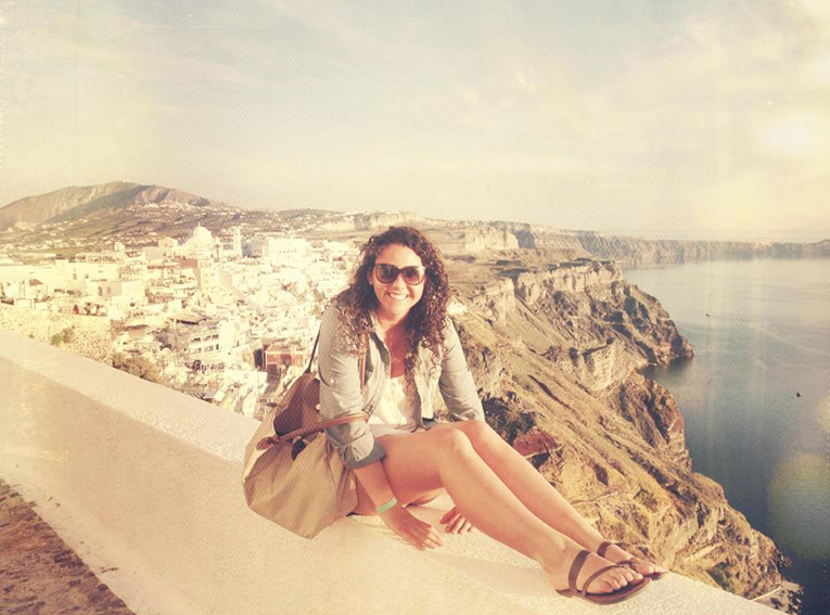 Student enjoys view of Santorini