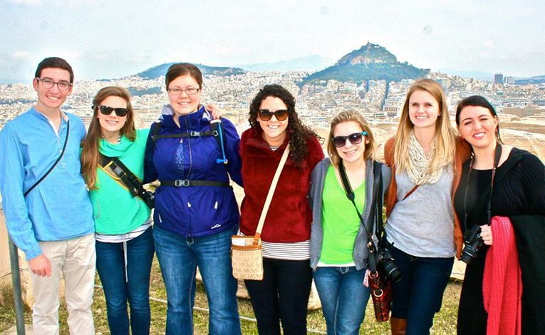 Study abroad students in Greece