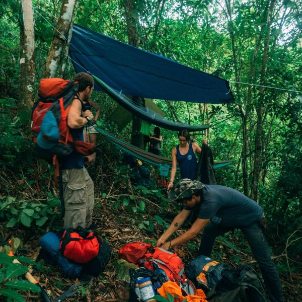 Outdoor Rec students amidst an overnight hike through the surrounding jungle