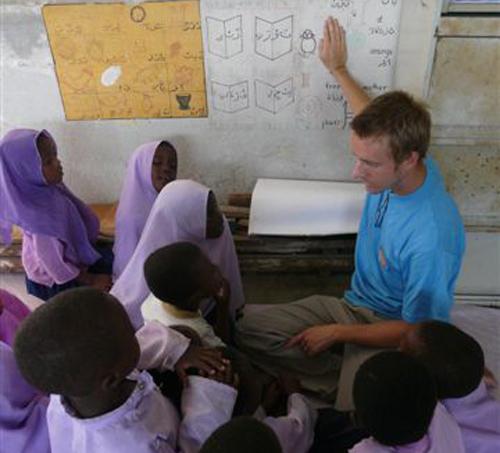volunteer educating children