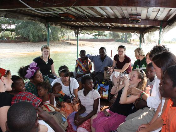 Volunteers and the locals bonding