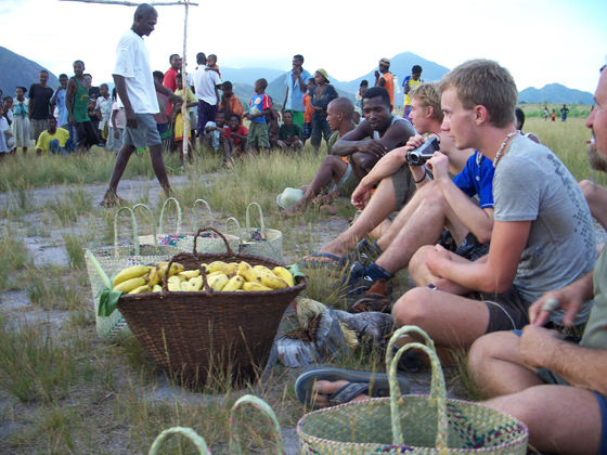 Volunteers and Madagascar locals in a social activity