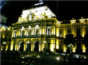Building in Argentina at night