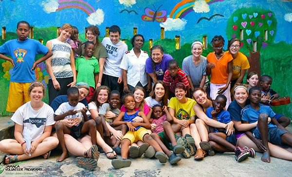 Appalachian State University at Salvation Army on their Volunteer Abroad trip