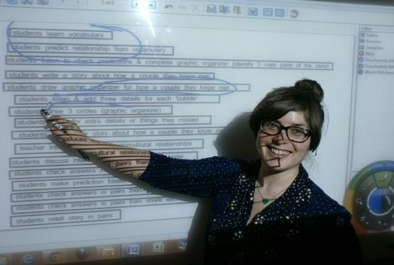 This is Autumn, one of our teacher-trainers, teaching using a smart board.