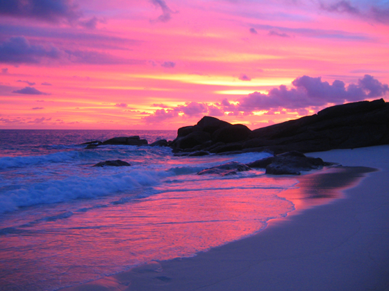 A beautiful pink hue of the sunset in Seychelles