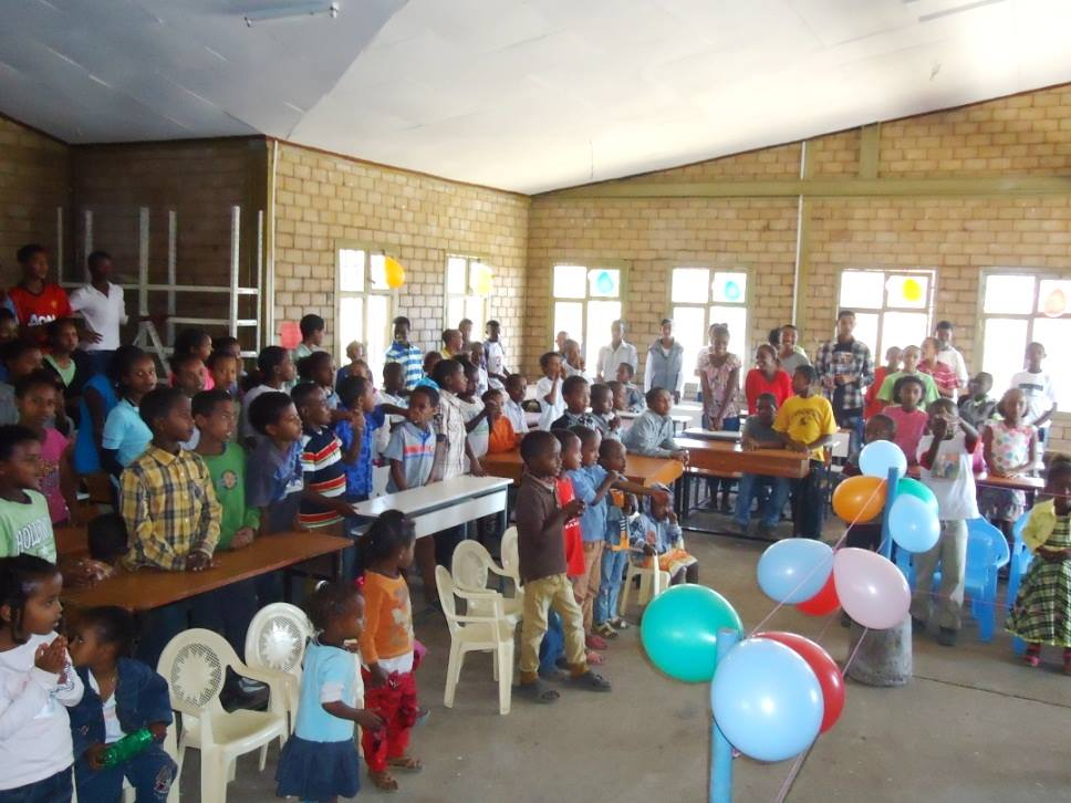 classroom with orphans