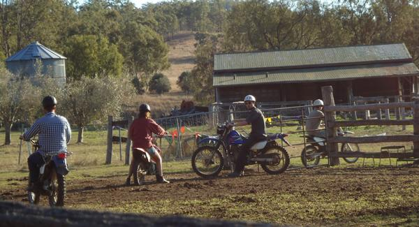 bikers on farm