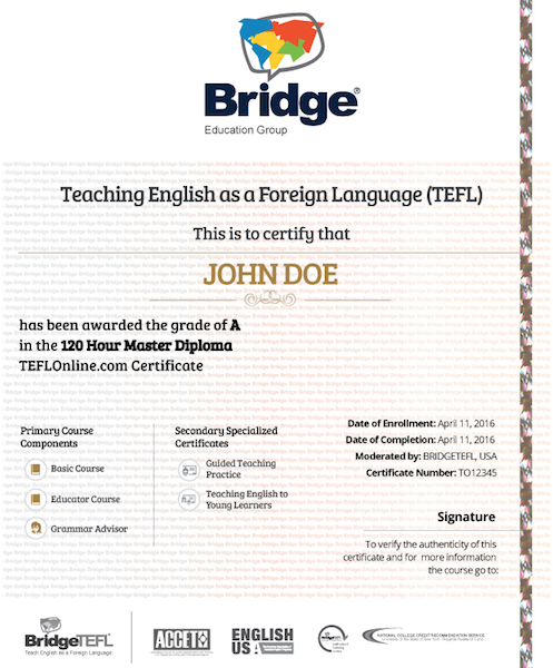 BridgeTEFL certification
