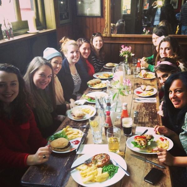 London SAE  students having a pub lunch in Camden Town