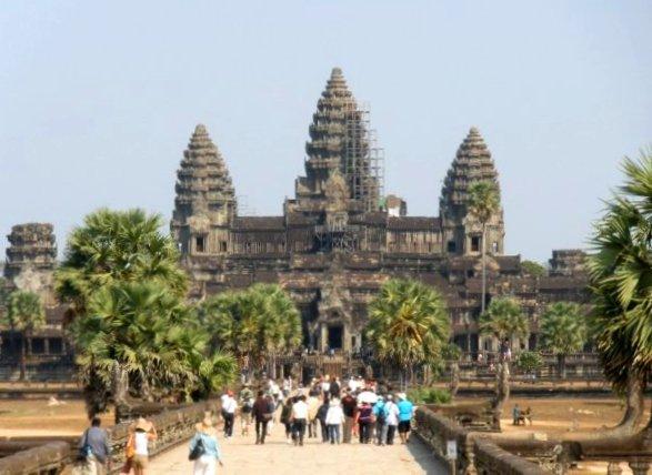 Tourists visiting Angkor Wat in Cambodia