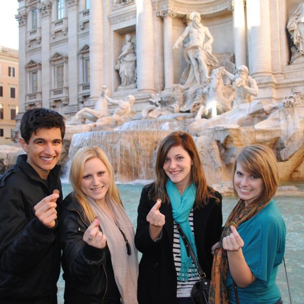 Athena Study Abroad Rome, Italy Students Trevi Fountain