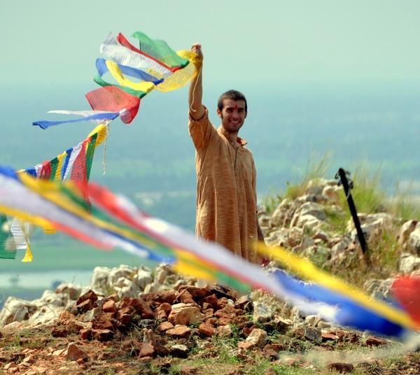 Student with flags