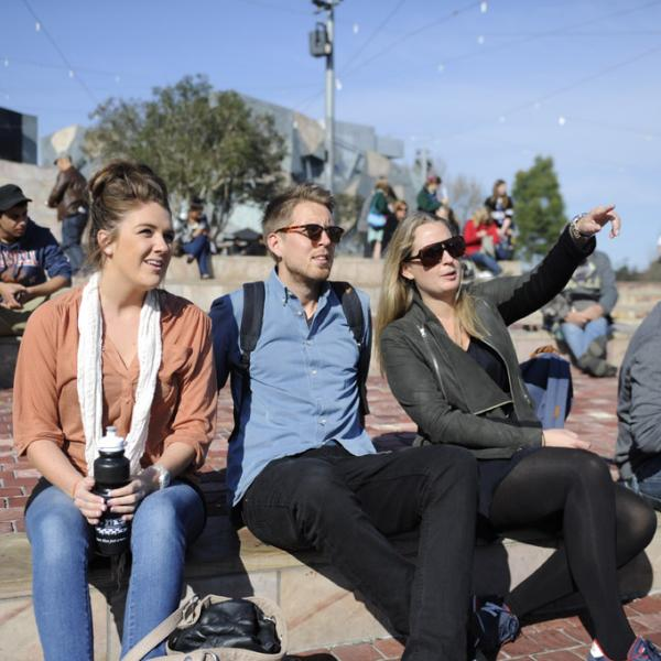 Monash semester students at Federation Square