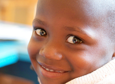 An African child smiling