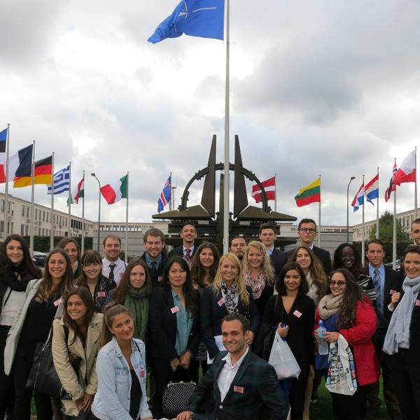 Students in front of NATO headquarters