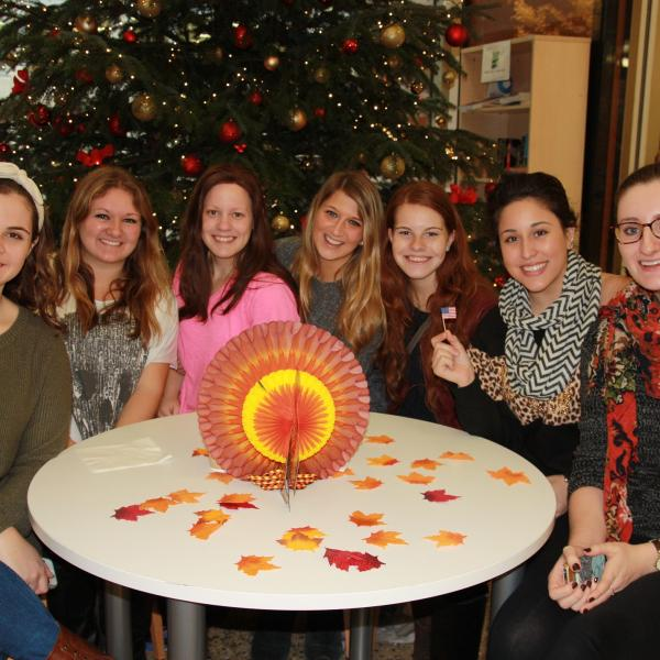 LSBU Study Abroad students celebrating Thanksgiving