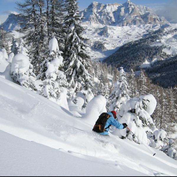 Student skiing in the Dolomites