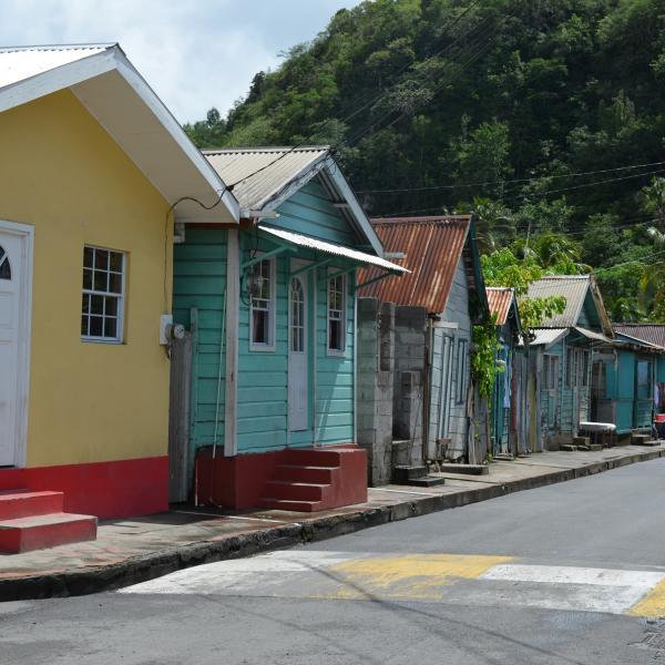 Street View of Anse La Raye, St. Lucia, the Caribbean