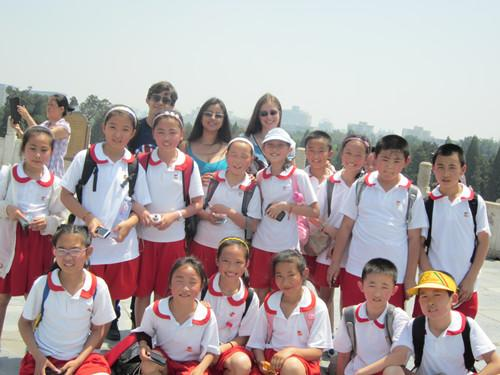 teacher with students at Temple of Heaven