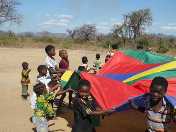 children of teaching and sports facilitation in Malawi