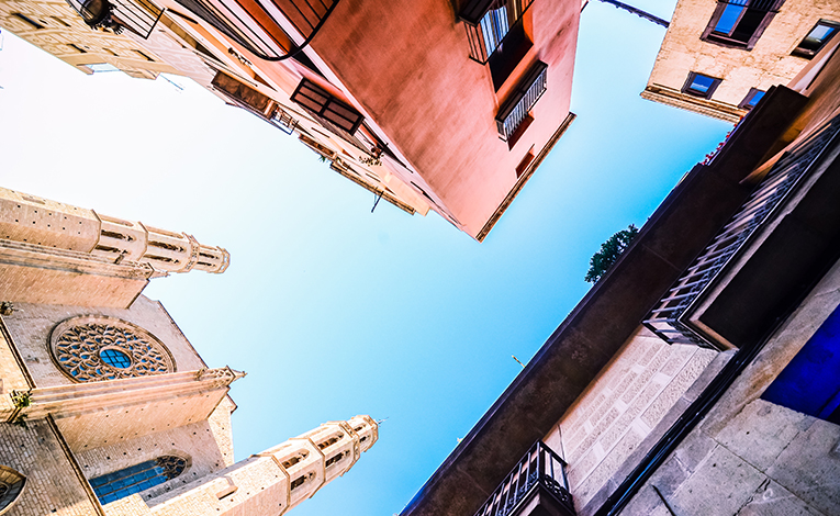 Sky view near a cathedral in Barcelona, Spain